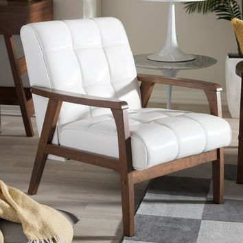 Mid Century White Faux Leather Chair by Baxton Studio | Overstock.com Shopping - The Best Deals on Living Room Chairs
