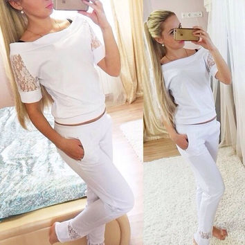 Scoop Short Sleeves T-shirt Loose Pant Lace Patchwork Activewear Set