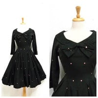 1950's Dress Black Taffeta Polka Dot Bows Cocktail Party Dress