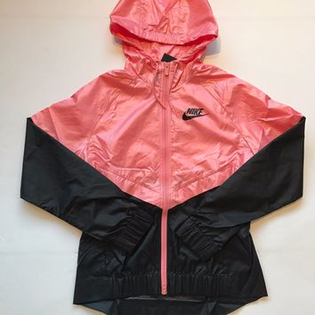 KUYOU Nike Womens Sportswear Windrunner Bright Melon Black 804947-808