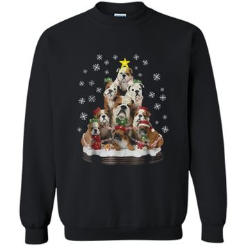Christmas Sweater  English Bulldog Xmas Tree Gift Printed Crewneck Pullover Sweatshirt