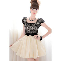 Color Block Short Sleeve Lace Pleated Dress