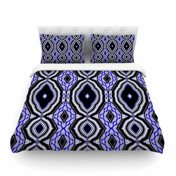 "Dawid Roc ""Inspired By Psychedelic Art 3"" Purple Abstract Featherweight Duvet Cover"