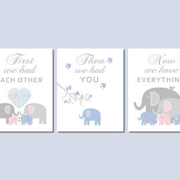 Elephant Nursery Decor, Baby Boy Nursery Wall Art Prints in Blue Gray and Pink, First We Had Each Other, Brother Sister Nursery Wall Art