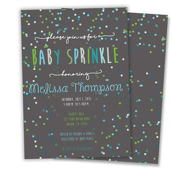 Blue Boy Baby Sprinkle Invitation - Green Confetti Country Baby Sprinkle - Sprinkle Invites - Personalized Fast - Printed - Neutral Boys