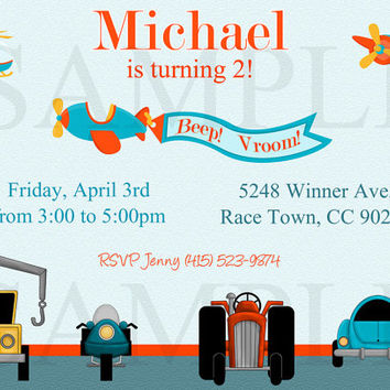 Transportation invitation - transportation invite - transportation printable - transportation birthday invitation - car truck invitation