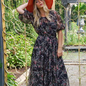 Vintage 70s Floral CHIFFON Maxi Dress Sheer Black Dress Puff Sleeve Boho Dress