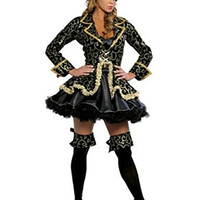 Ladream Women's Sexy Pirate Fancy Costume Halloween Deluxe Dress Hat Cosplay Outfit (M)