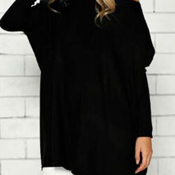 Black Boat Neck Fitted Sleeve Oversized T-shirt