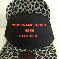 Personalized Leopard Brim Snapback Hats Caps YOUR OWN WORD or Name /Number