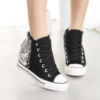 floral shoes hidden heel high tops canvas height increasing wedges Casual Shoes