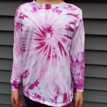 Girls Tie Dye Shirt in Purple and Pink, Youth Large Long-Sleeve TieDye Tee, Girls Hippie Clothes, Tween Girl, Pink Shirt, Girls Purple Shirt