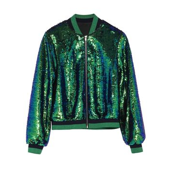 """Let's Talk Money"" Sequin Bomber Jacket"