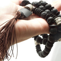 Strength & confidence black lava stone mala with dark brown tassel 108 bead Yoga Gift Energy Courage Stability Chakra Unisex Men's Masculine