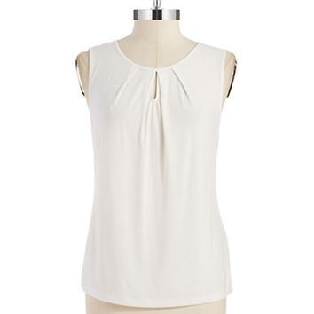 Tahari Arthur S. Levine Plus Sleeveless Keyhole Top