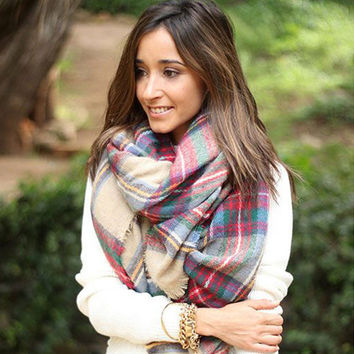Plaid Print Long Scarf