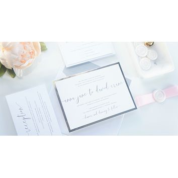Pink and Silver Vellum and Wax Seal Wedding Invitation - SAMPLE SET
