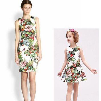 Cotton Floral Family Matching Mother Daughter Clothes Sleeveless O Neck Girls Dress Flower Printing Mother Daughter Dresses 1053
