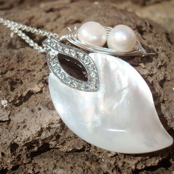 Mother of pearl leaf and genuine freshwater pearl necklace - 2 peas in a pod pearls Mom gift