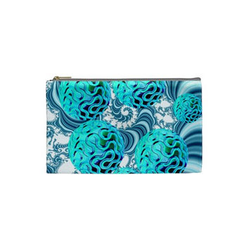 Teal Sea Forest, Abstract Underwater Ocean Cosmetic Bag (Small)
