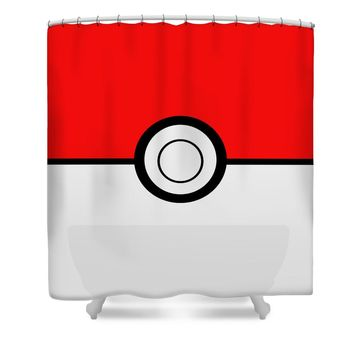 Pokemon Ball Shower Curtain