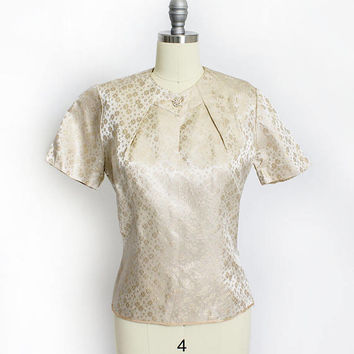 Vintage 1960s Blouse - Metallic Gold Brocade Top Shell Rhinestones 50s - Large L