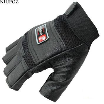 Thin Tactical PU Leather Gloves Men Outdoor Half Finger Sports Gloves Antiskid Bicycle Gloves  Fingerless Gym Gloves Luva G41