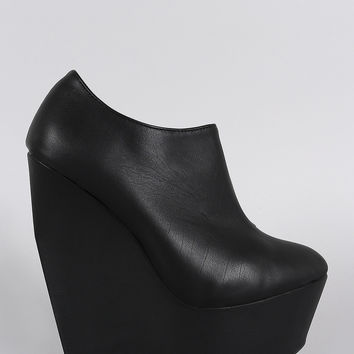 Narrow Platform Heights Wedge Booties