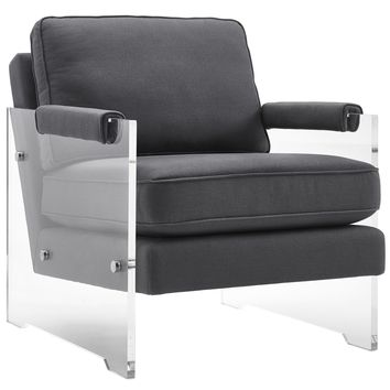 GAVEN GREY LINEN AND LUCITE CHAIR