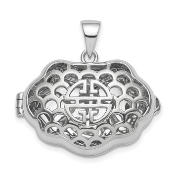 Sterling Silver Rhodium-plate Chinese Symbol For Wealth Locket Pendant QLS835