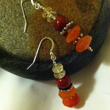 Sunset Colors Earrings Citrine Carnelian Riverstone Hand Made Beaded Gemstone Earrings Yellow Red Orange Drop Earrings Modern Trendy Jewelry