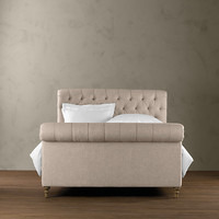 Chesterfield Upholstered Sleigh Bed 68""