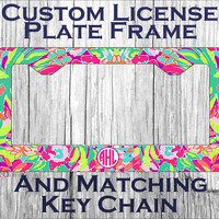 Custom Monogrammed personalized license plate frame. Lily Pulitzer LuLu Flamingo inspired Vanity car tag #1060