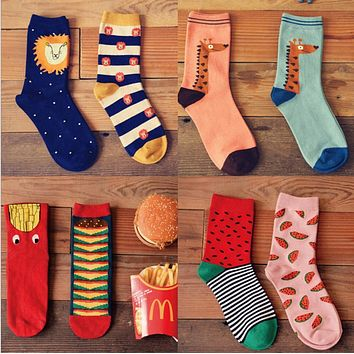 2 Pair 4 Style  New Women Winter Warm  Soft Cotton Cute chips watermelons Socks