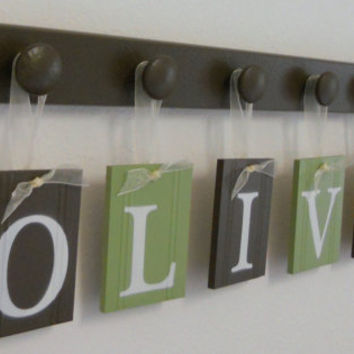Alphabet Wooden Letters. Set Includes 6 Peg Board and Babies Name OLIVER Painted Soft Green and Brown. Baby Boy Room Wall Decor
