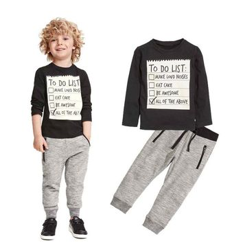 2 Piece Set Toddler Boys Handsome Black Top + Gray Casual Pants