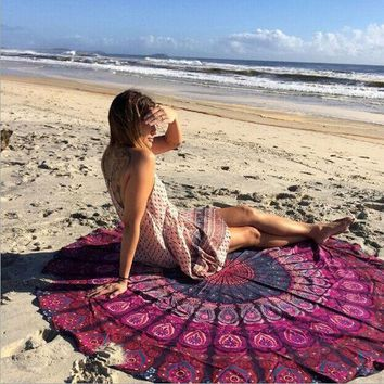 DCCKJG2 Vintage Printed Round Indian Mandala Tapestry Wall Hanging Tapestries Boho Beach Towel Hippie Yoga Mat Blanket Home Decor 150cm