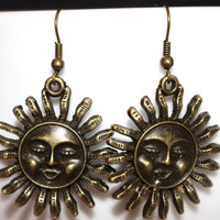 Bronze Sun Charm Earrings