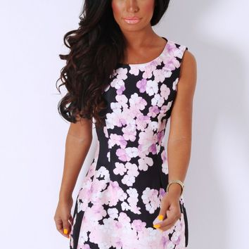 Bernadette Multicolour Floral Skater Dress | Pink Boutique