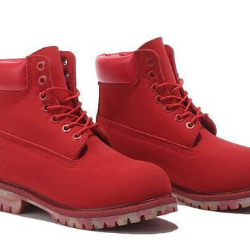 LMFON Timberland Rhubarb Boots Red Camouflage Shoes Waterproof Martin Boots