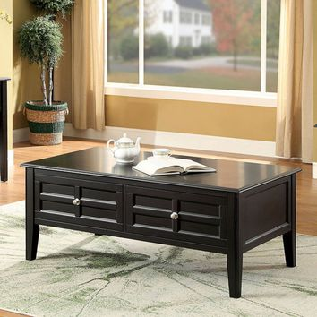 Furniture of america CM4704C Yulisa black finish wood coffee table with drawers