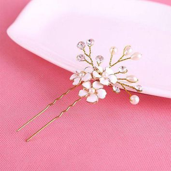 PEAPU3S 1PC Gold Bridal Pearl Flower Hair Pins Clips Bridesmaid Hairband Rhinestone Headwear Wedding Hair Accessories Hair Jewelry D0033