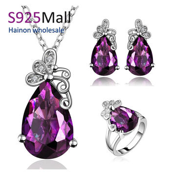 butterfly jewelry sets 3pc necklace ring stud earring with crystal large drop shape Free shipping wedding jewlery set