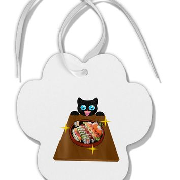 Anime Cat Loves Sushi Paw Print Shaped Ornament by TooLoud