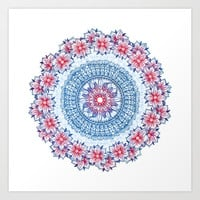 Red, Blue & White Floral Medallion Art Print by Micklyn
