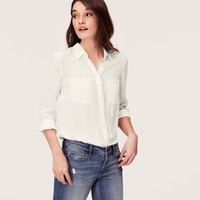 Tiny Dot Covered Button Down Blouse