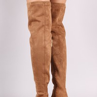 Bamboo Suede Almond Toe Over-The-Knee Riding Boots