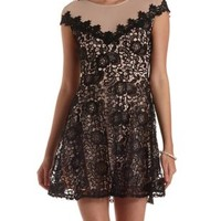 Black Combo Nude-Lined Lace Illusion Skater Dress by Charlotte Russe