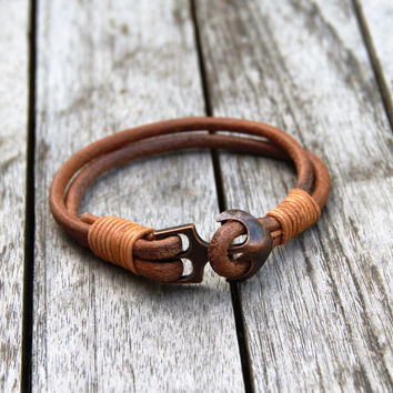 Poseidon Nautical Leather Bracelet With Anchor Clasp