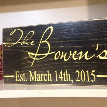 12x6 Custom Last Name Date Wood Sign
